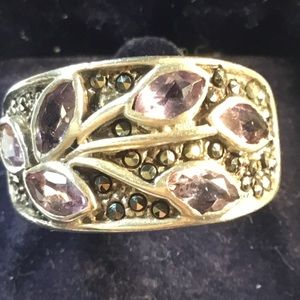Amethyst and Silver Ladies Ring